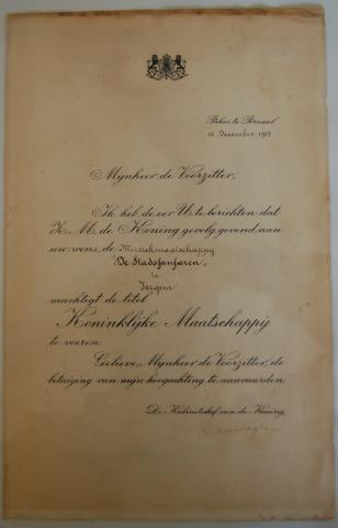 Koninklijke stadsfanfaren Izegem Brief koning 1954