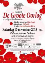 Affiche concert van de Koninklijke Stadsfanfaren Izegem met thema Groote Oorlog